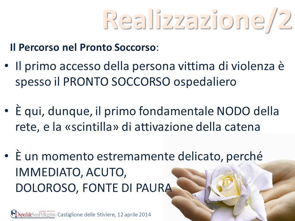 Realizzazione/2 Il primo accesso della persona vittima di violenza è spesso il PRONTO SOCCORSO ospedaliero È qui, dunque, il primo fondamentale NODO d