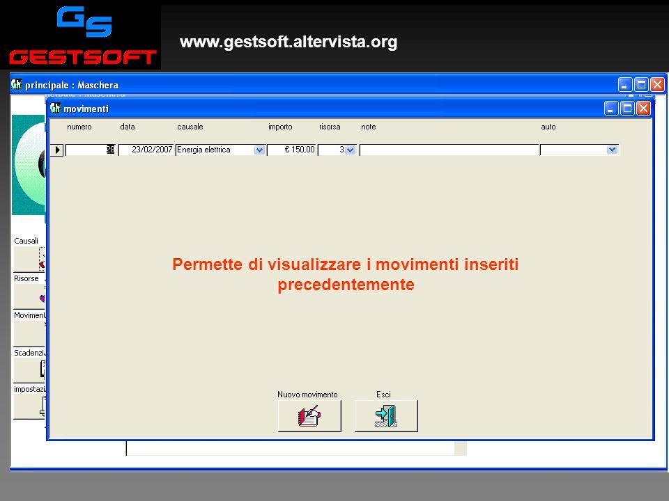 www.gestsoft.altervista.org Movimenti