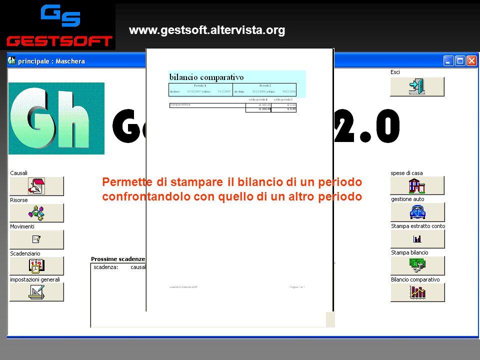 www.gestsoft.altervista.org Stampa bilancio comparativo