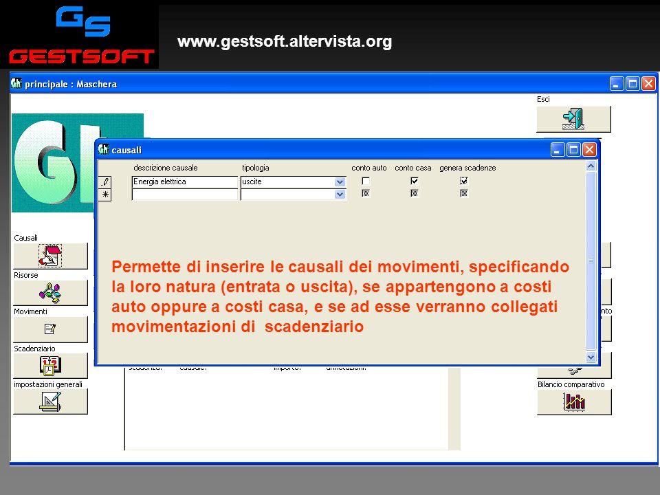 www.gestsoft.altervista.org Causali
