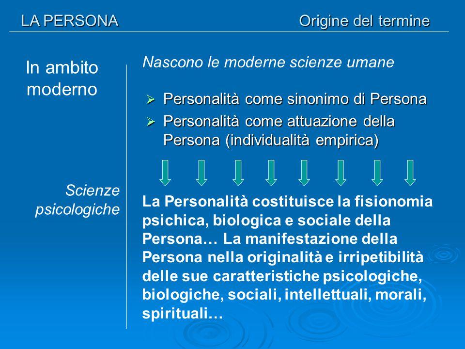 LA PERSONA Origine del termine In ambito moderno  Personalità come sinonimo di Persona  Personalità come attuazione della Persona (individualità emp