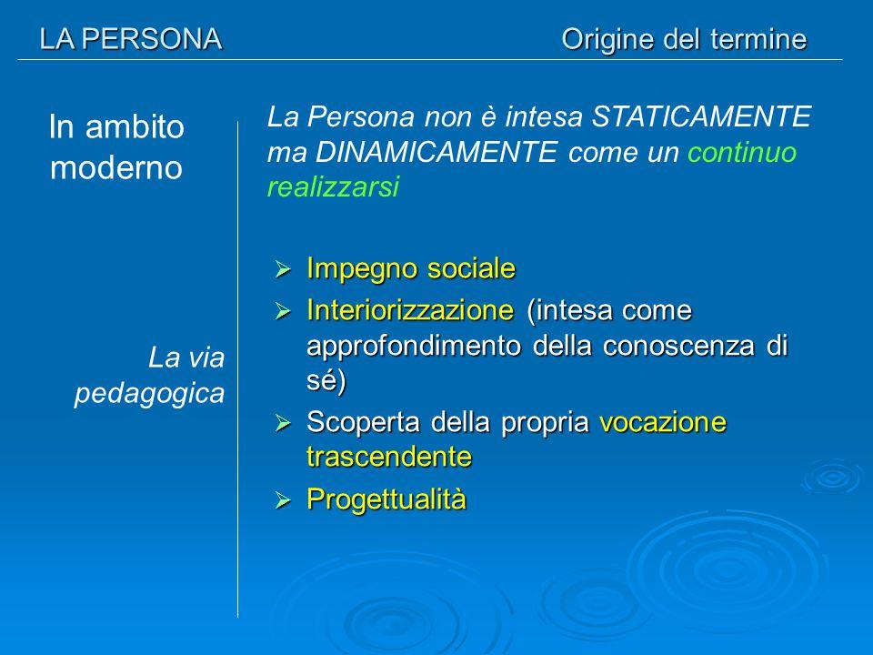 LA PERSONA Origine del termine In ambito moderno  Impegno sociale  Interiorizzazione (intesa come approfondimento della conoscenza di sé)  Scoperta