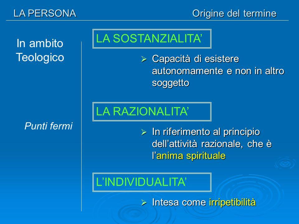 LA PERSONA Fondamento ontologico L'isolamento è il male ontologico dell'uomo Che cos'è l'inferno.
