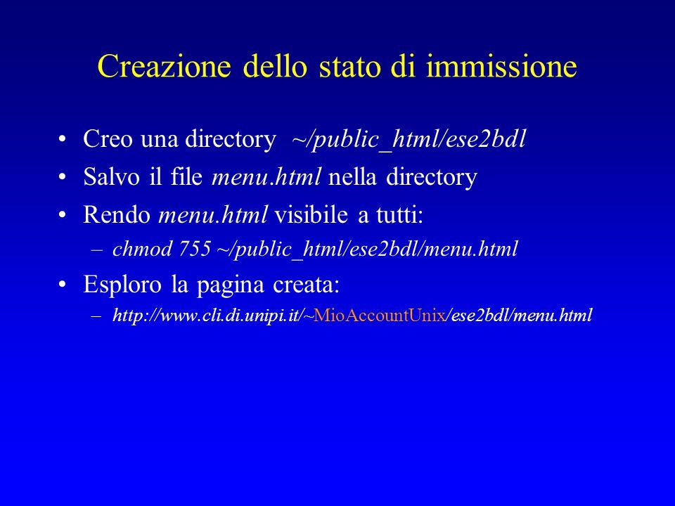 Creazione dello stato di immissione Creo una directory ~/public_html/ese2bdl Salvo il file menu.html nella directory Rendo menu.html visibile a tutti: –chmod 755 ~/public_html/ese2bdl/menu.html Esploro la pagina creata: –http://www.cli.di.unipi.it/~MioAccountUnix/ese2bdl/menu.html