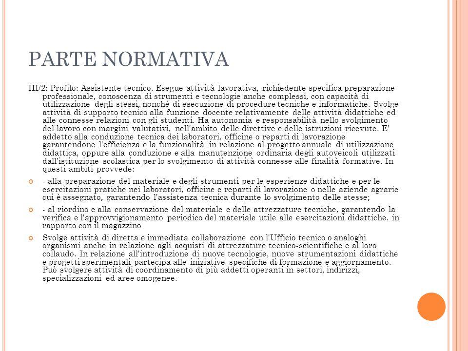 PARTE NORMATIVA III/2: Profilo: Assistente tecnico. Esegue attività lavorativa, richiedente specifica preparazione professionale, conoscenza di strume