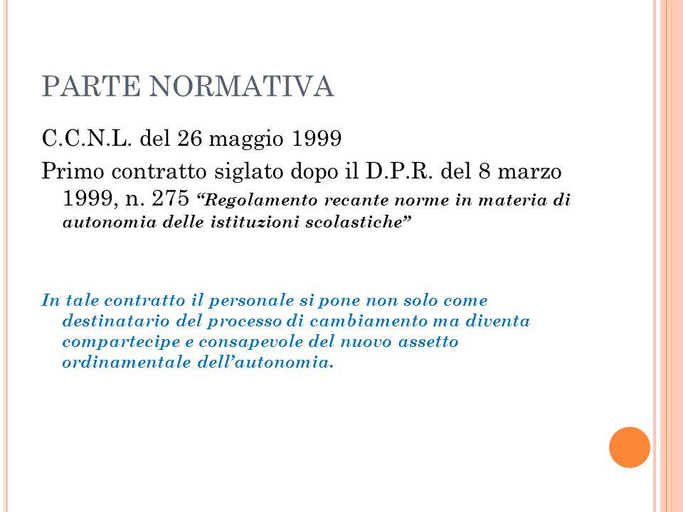 """PARTE NORMATIVA C.C.N.L. del 26 maggio 1999 Primo contratto siglato dopo il D.P.R. del 8 marzo 1999, n. 275 """"Regolamento recante norme in materia di a"""
