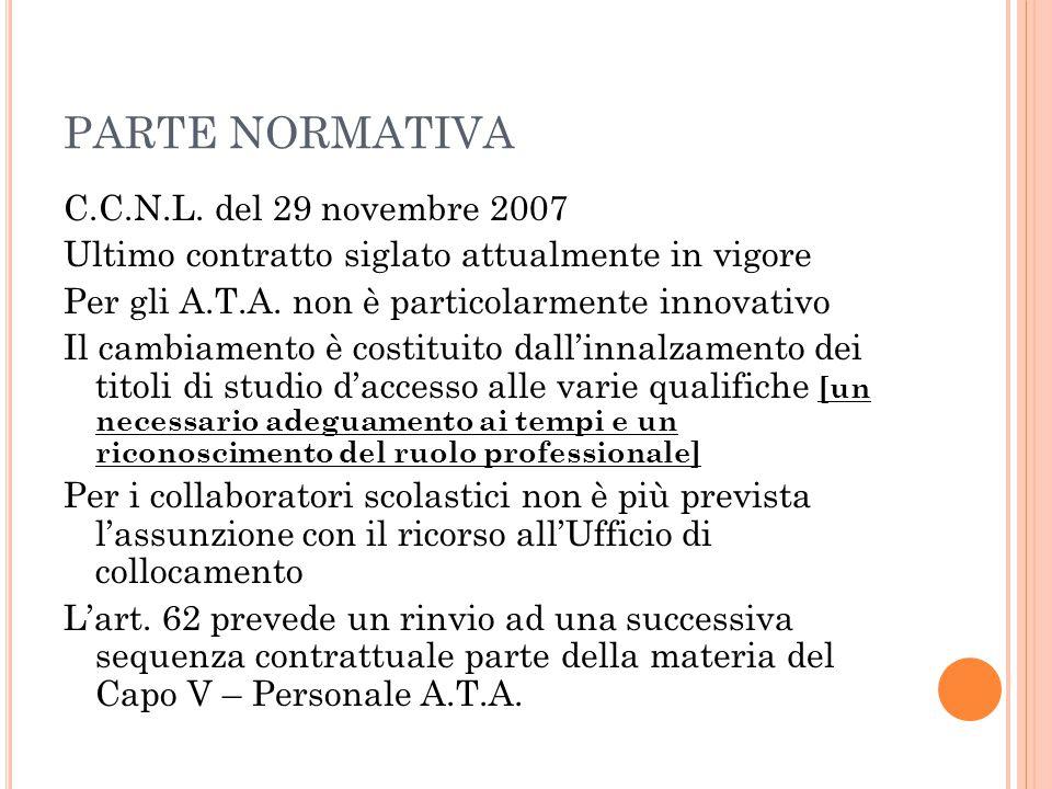 PARTE NORMATIVA C.C.N.L. del 29 novembre 2007 Ultimo contratto siglato attualmente in vigore Per gli A.T.A. non è particolarmente innovativo Il cambia