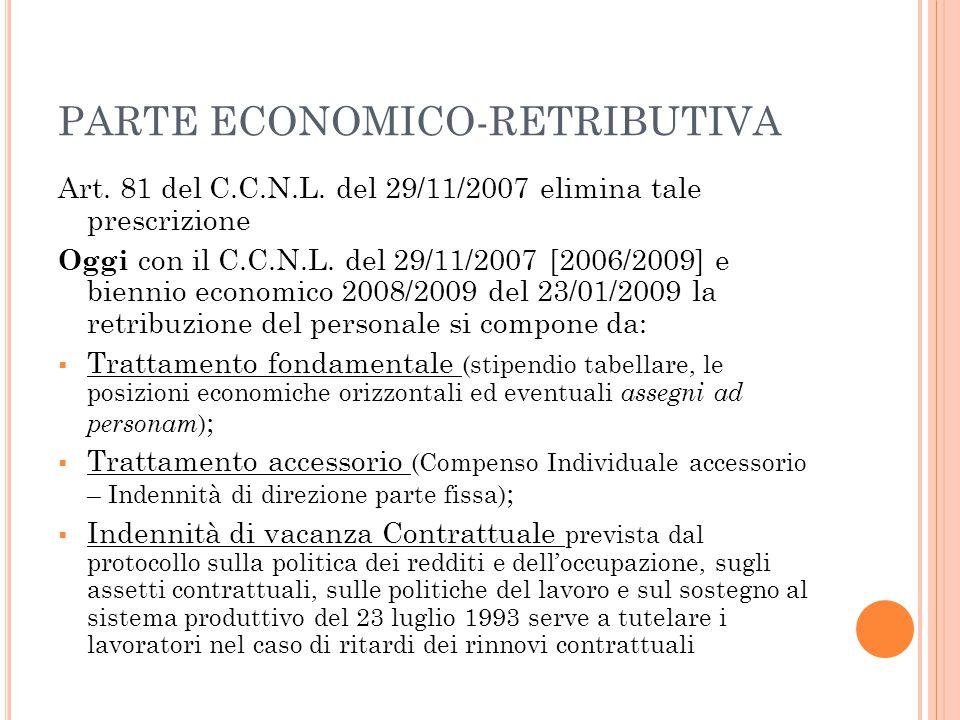 PARTE ECONOMICO-RETRIBUTIVA Art. 81 del C.C.N.L. del 29/11/2007 elimina tale prescrizione Oggi con il C.C.N.L. del 29/11/2007 [2006/2009] e biennio ec