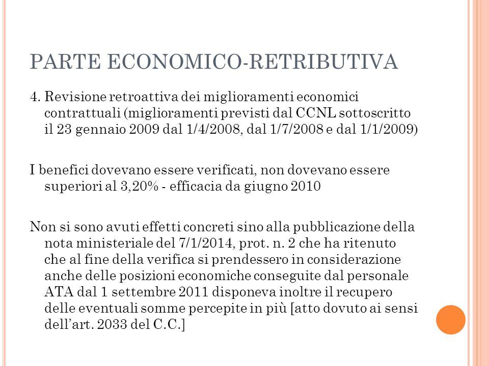 PARTE ECONOMICO-RETRIBUTIVA 4. Revisione retroattiva dei miglioramenti economici contrattuali (miglioramenti previsti dal CCNL sottoscritto il 23 genn