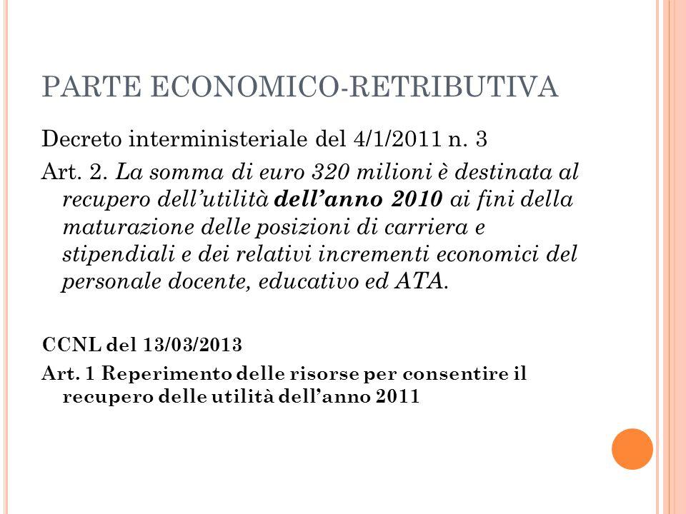 PARTE ECONOMICO-RETRIBUTIVA Decreto interministeriale del 4/1/2011 n. 3 Art. 2. La somma di euro 320 milioni è destinata al recupero dell'utilità dell