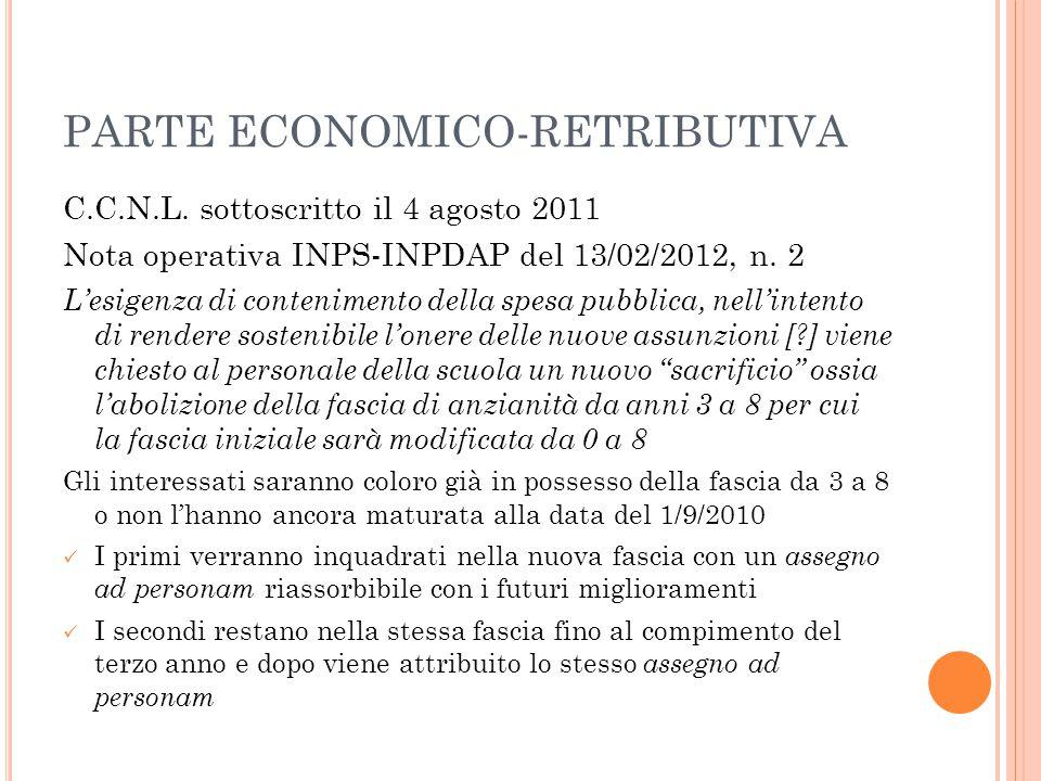 PARTE ECONOMICO-RETRIBUTIVA C.C.N.L. sottoscritto il 4 agosto 2011 Nota operativa INPS-INPDAP del 13/02/2012, n. 2 L'esigenza di contenimento della sp