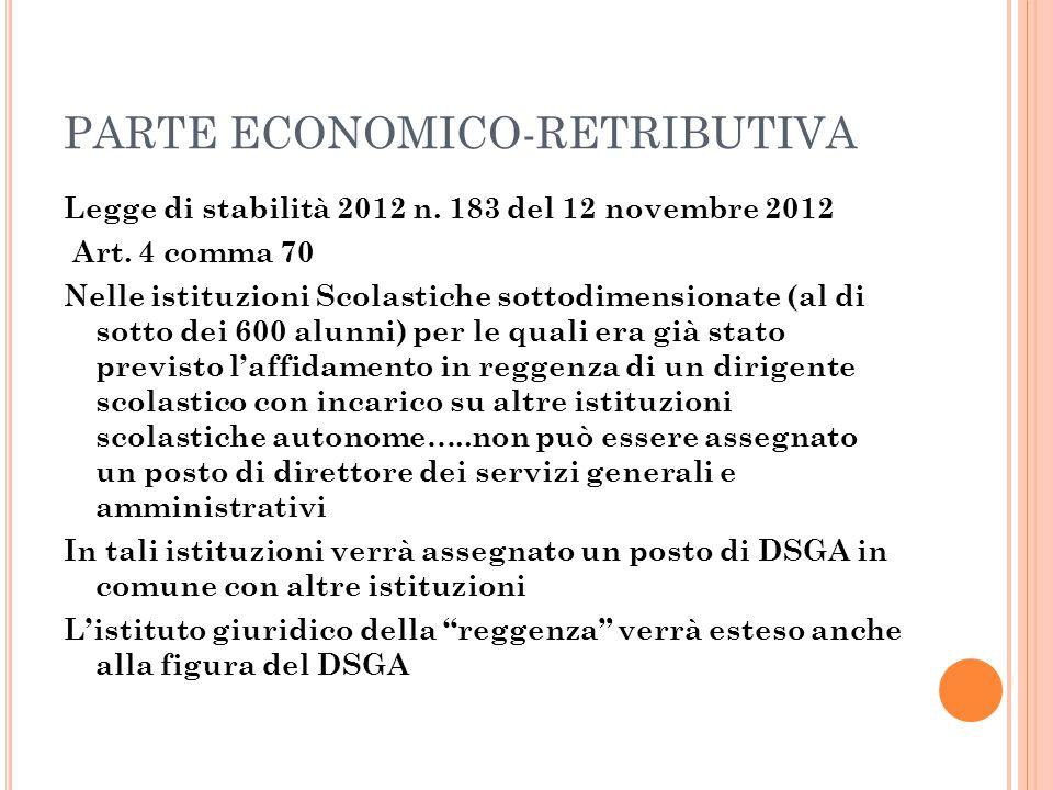 PARTE ECONOMICO-RETRIBUTIVA Legge di stabilità 2012 n. 183 del 12 novembre 2012 Art. 4 comma 70 Nelle istituzioni Scolastiche sottodimensionate (al di