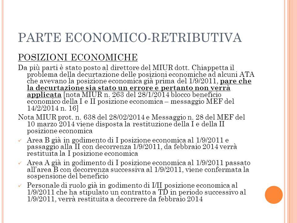 PARTE ECONOMICO-RETRIBUTIVA POSIZIONI ECONOMICHE Da più parti è stato posto al direttore del MIUR dott. Chiappetta il problema della decurtazione dell