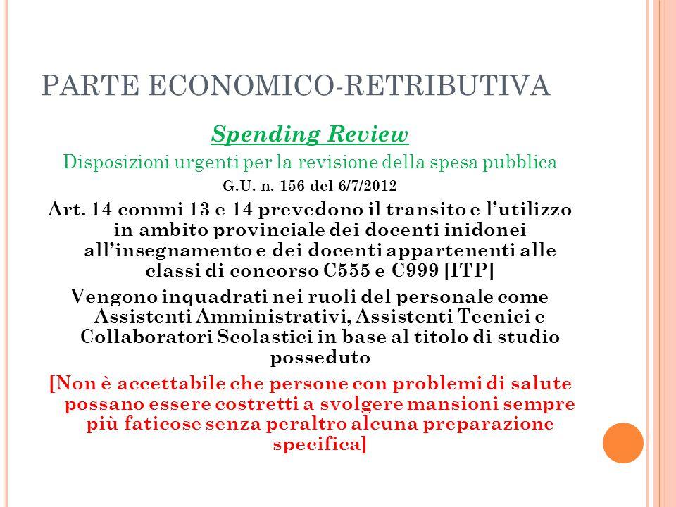 PARTE ECONOMICO-RETRIBUTIVA Spending Review Disposizioni urgenti per la revisione della spesa pubblica G.U. n. 156 del 6/7/2012 Art. 14 commi 13 e 14