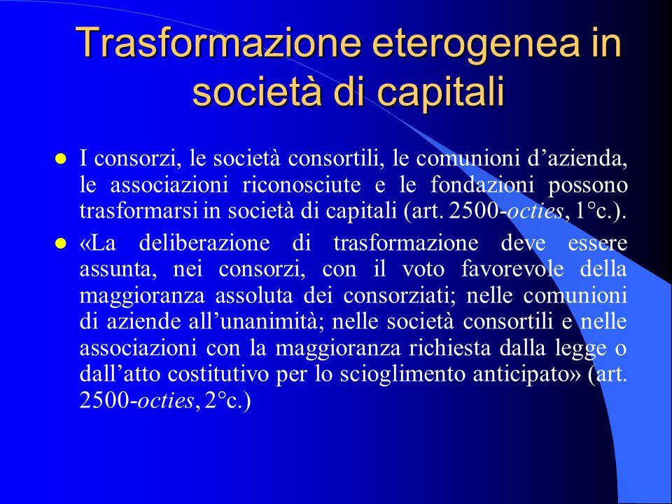 Trasformazione eterogenea in società di capitali l I consorzi, le società consortili, le comunioni d'azienda, le associazioni riconosciute e le fondaz