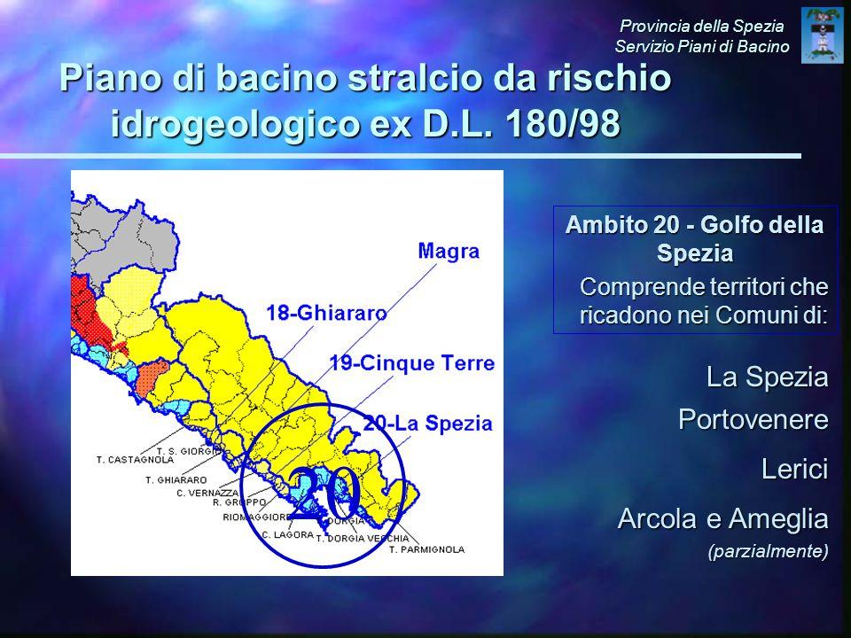Ambito 20 - Golfo della Spezia Comprende territori che ricadono nei Comuni di: La Spezia Portovenere Lerici Arcola e Ameglia (parzialmente) 20 Provincia della Spezia Servizio Piani di Bacino