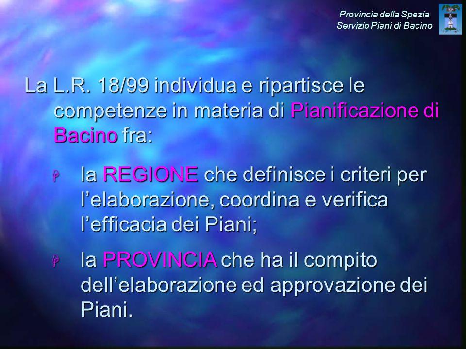 H la REGIONE che definisce i criteri per l'elaborazione, coordina e verifica l'efficacia dei Piani; La L.R.