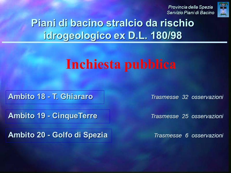 Ambito 19 - CinqueTerre Trasmesse 32 osservazioni Provincia della Spezia Servizio Piani di Bacino Piani di bacino stralcio da rischio idrogeologico ex D.L.