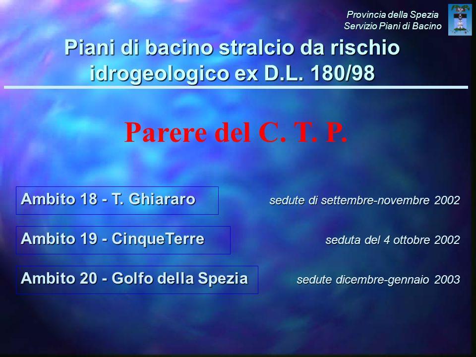 Ambito 19 - CinqueTerre sedute di settembre-novembre 2002 Provincia della Spezia Servizio Piani di Bacino Piani di bacino stralcio da rischio idrogeologico ex D.L.