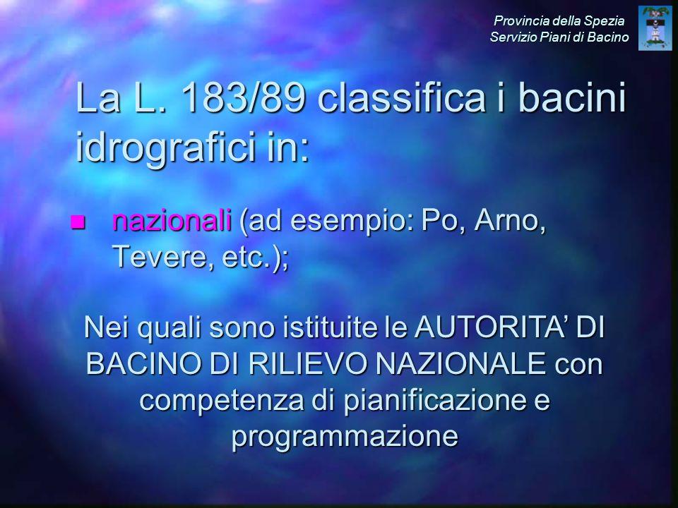 n nazionali (ad esempio: Po, Arno, Tevere, etc.); La L.