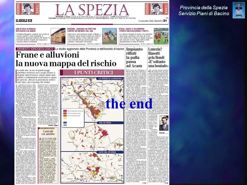 Provincia della Spezia Servizio Piani di Bacino the end
