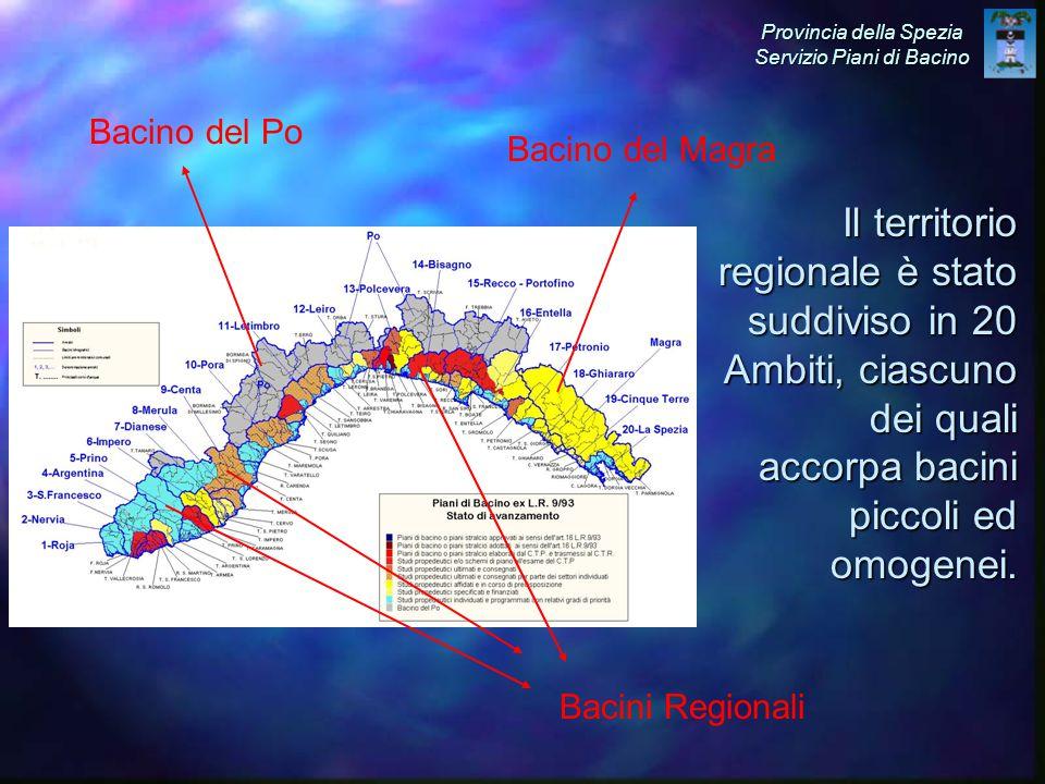 Il territorio regionale è stato suddiviso in 20 Ambiti, ciascuno dei quali accorpa bacini piccoli ed omogenei.
