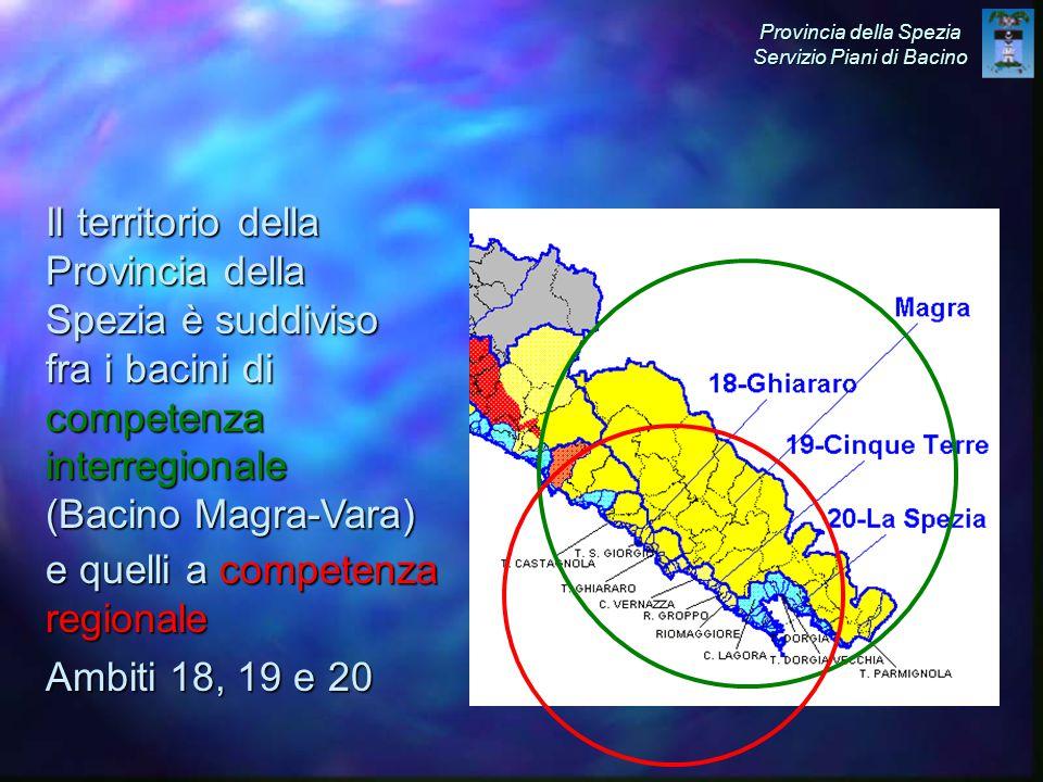 Il territorio della Provincia della Spezia è suddiviso fra i bacini di competenza interregionale (Bacino Magra-Vara) e quelli a competenza regionale Ambiti 18, 19 e 20 Provincia della Spezia Servizio Piani di Bacino