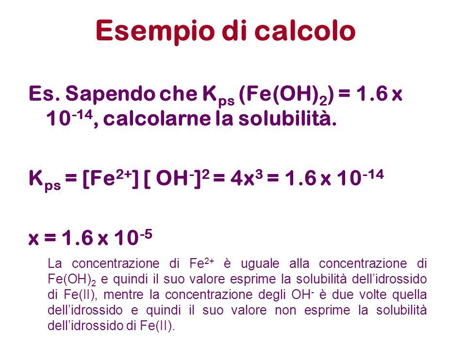 Esempio di calcolo Es. Sapendo che K ps (Fe(OH) 2 ) = 1.6 x 10 -14, calcolarne la solubilità. K ps = [Fe 2+ ] [ OH - ] 2 = 4x 3 = 1.6 x 10 -14 x = 1.6