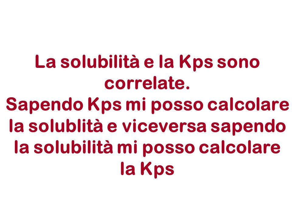 La solubilità e la Kps sono correlate. Sapendo Kps mi posso calcolare la solublità e viceversa sapendo la solubilità mi posso calcolare la Kps