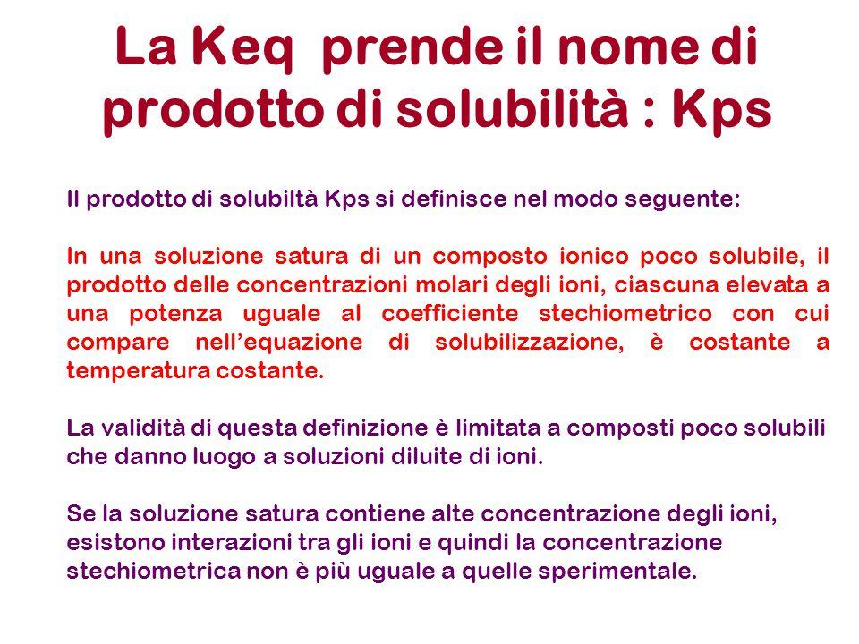 Prodotto di solubilità : Kps AgCl (s) Ag + + Cl - [Ag + ] [ Cl - ] [ AgCl] K = [Ag + ] [ Cl - ] [AgCl] (s) In quanto solido, la sua quantità non influsce sulla posizione dell'equilibri o, purchè il solido sia presente K ps = [Ag + ] [ Cl - ] Prodotto di Solubilità: Deriva da una costante di equilibrio ma poiché il denominatore é un valore costante, diventa solo il prodotto dei termini di destra della reazione che si sta descrivendo