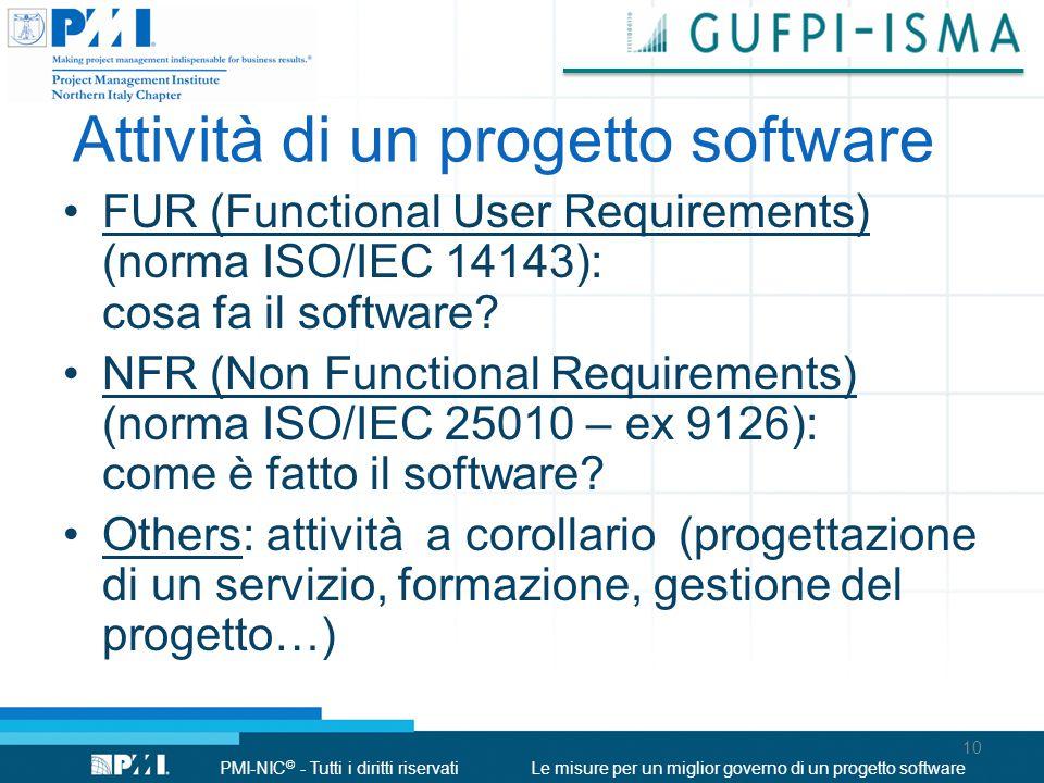 PMI-NIC © - Tutti i diritti riservatiLe misure per un miglior governo di un progetto software Attività di un progetto software 10 FUR (Functional User Requirements) (norma ISO/IEC 14143): cosa fa il software.