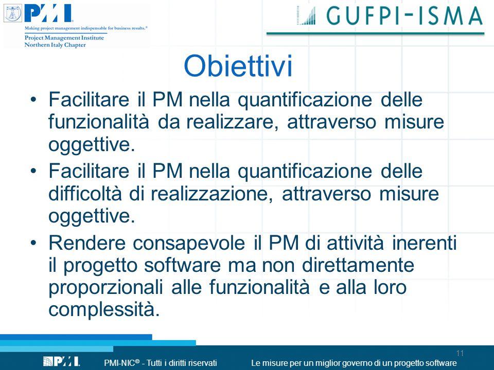PMI-NIC © - Tutti i diritti riservatiLe misure per un miglior governo di un progetto software Obiettivi 11 Facilitare il PM nella quantificazione dell