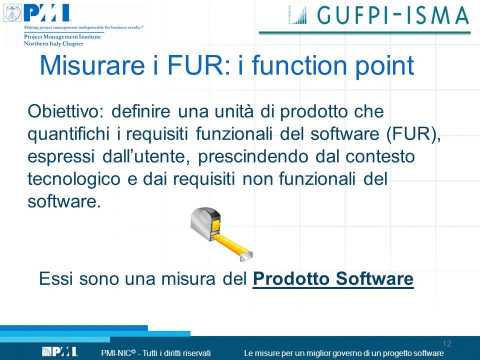 PMI-NIC © - Tutti i diritti riservatiLe misure per un miglior governo di un progetto software Obiettivo: definire una unità di prodotto che quantifich