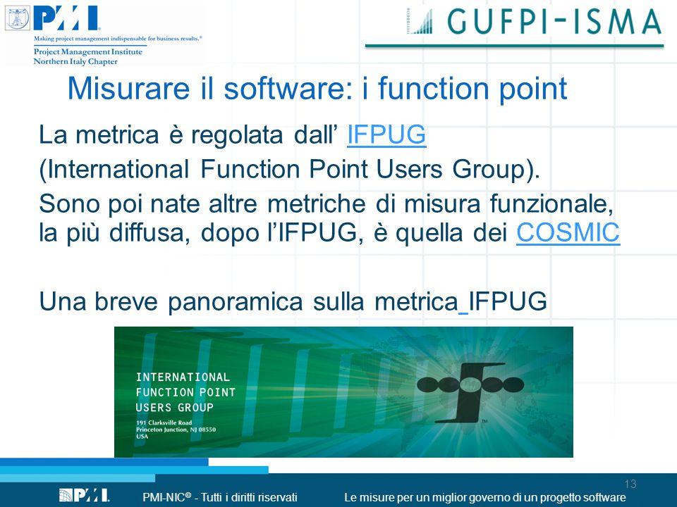 PMI-NIC © - Tutti i diritti riservatiLe misure per un miglior governo di un progetto software La metrica è regolata dall' IFPUGIFPUG (International Function Point Users Group).