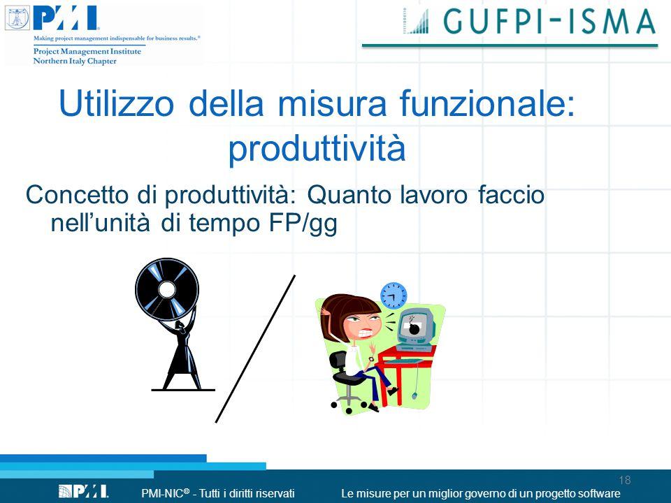 PMI-NIC © - Tutti i diritti riservatiLe misure per un miglior governo di un progetto software Concetto di produttività: Quanto lavoro faccio nell'unità di tempo FP/gg Utilizzo della misura funzionale: produttività 18