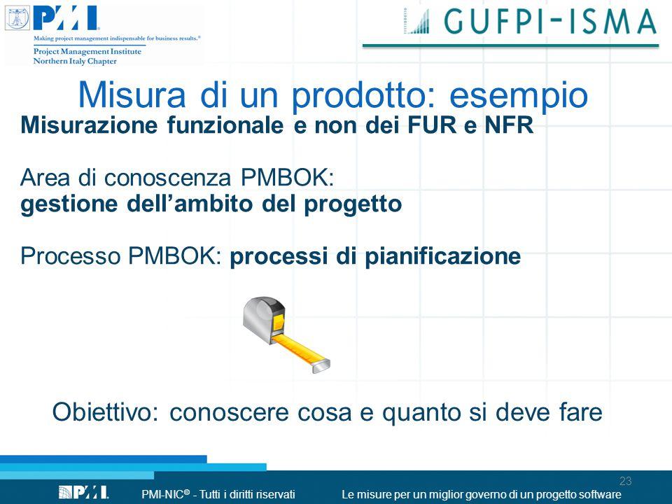 PMI-NIC © - Tutti i diritti riservatiLe misure per un miglior governo di un progetto software Misura di un prodotto: esempio Misurazione funzionale e