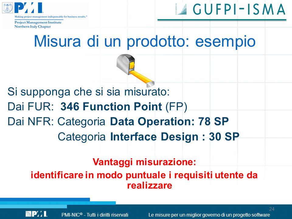 PMI-NIC © - Tutti i diritti riservatiLe misure per un miglior governo di un progetto software Misura di un prodotto: esempio Si supponga che si sia mi