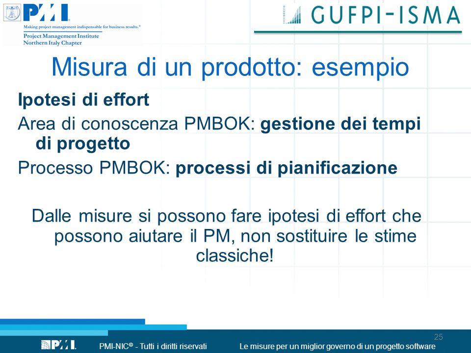 PMI-NIC © - Tutti i diritti riservatiLe misure per un miglior governo di un progetto software Misura di un prodotto: esempio Ipotesi di effort Area di