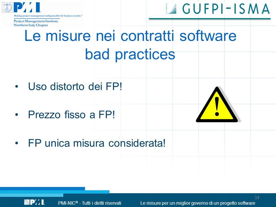 PMI-NIC © - Tutti i diritti riservatiLe misure per un miglior governo di un progetto software Le misure nei contratti software bad practices Uso distorto dei FP.