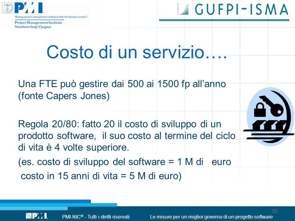 PMI-NIC © - Tutti i diritti riservatiLe misure per un miglior governo di un progetto software Costo di un servizio…. Una FTE può gestire dai 500 ai 15