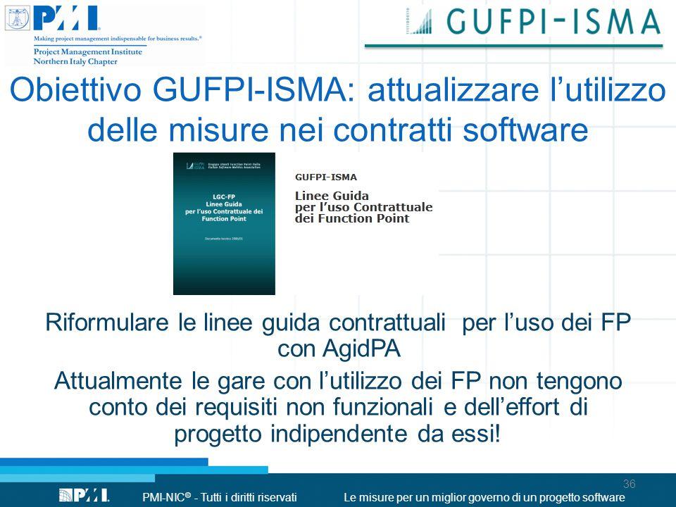 PMI-NIC © - Tutti i diritti riservatiLe misure per un miglior governo di un progetto software Obiettivo GUFPI-ISMA: attualizzare l'utilizzo delle misu