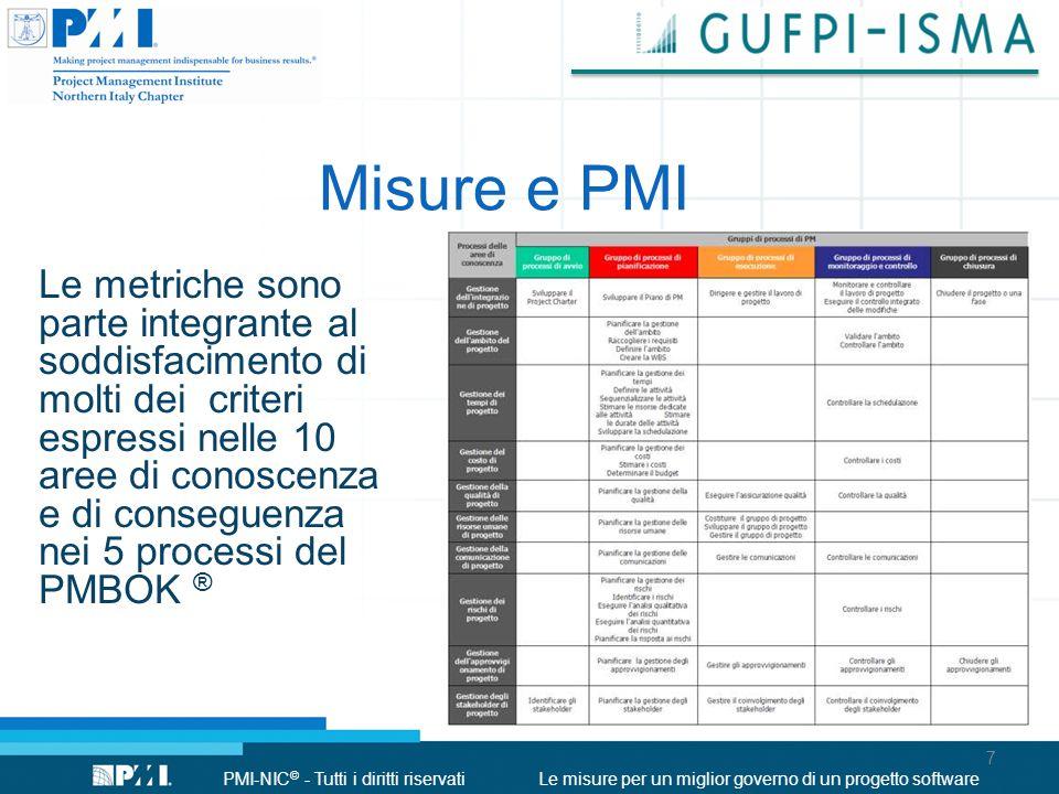 PMI-NIC © - Tutti i diritti riservatiLe misure per un miglior governo di un progetto software Misure e PMI Le metriche sono parte integrante al soddis