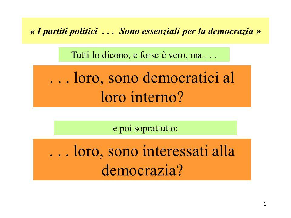 12 Occorre esigere : 1) regole democratiche di vita interna ai partiti e nei loro rapporti con la società ed i cittadini (Es.