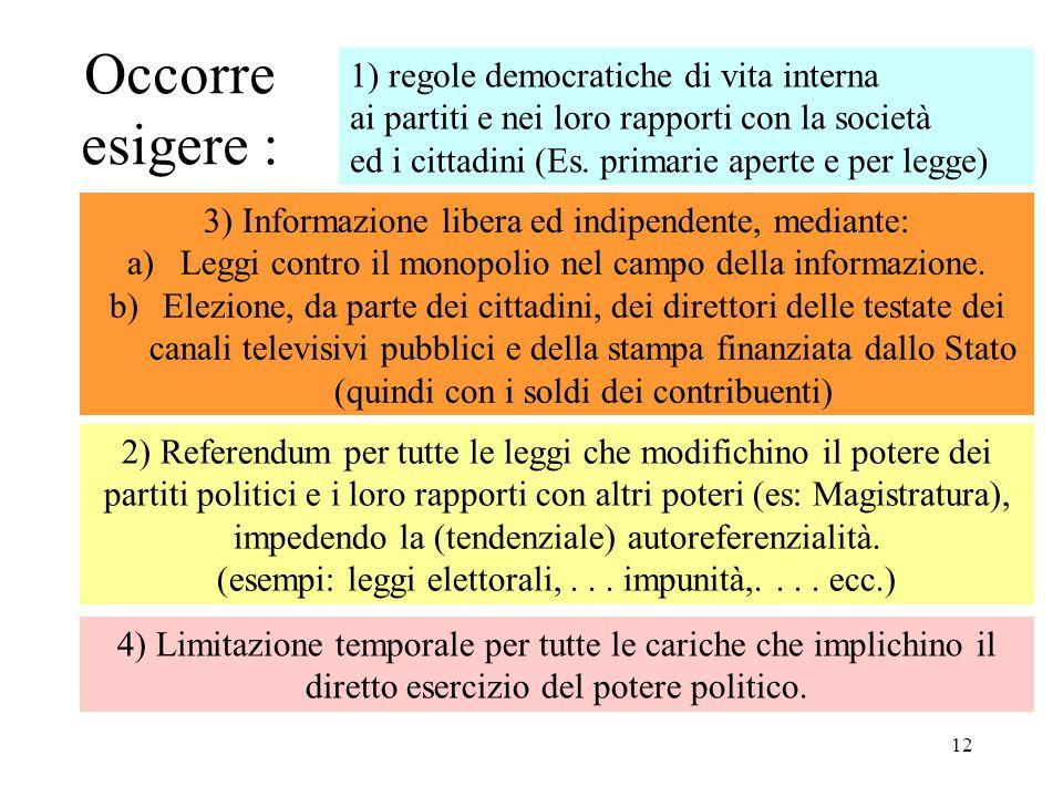 12 Occorre esigere : 1) regole democratiche di vita interna ai partiti e nei loro rapporti con la società ed i cittadini (Es. primarie aperte e per le