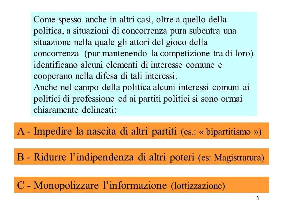 9 Nello sforzo di: assicurare il potere, i politici di professione ed i loro partiti sono indotti ad alleanze con « poteri forti ».