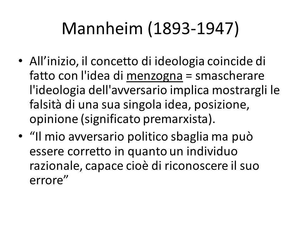 Mannheim (1893-1947) All'inizio, il concetto di ideologia coincide di fatto con l'idea di menzogna = smascherare l'ideologia dell'avversario implica m