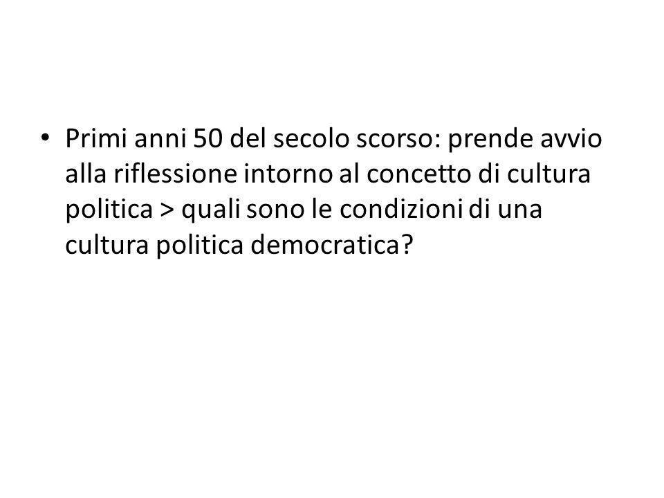 Primi anni 50 del secolo scorso: prende avvio alla riflessione intorno al concetto di cultura politica > quali sono le condizioni di una cultura polit