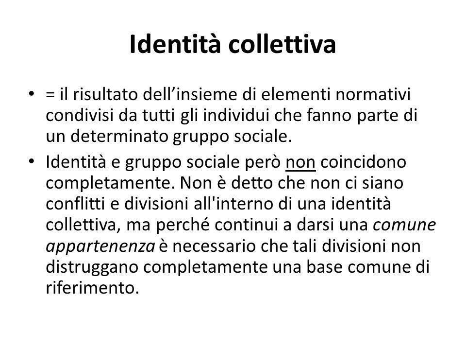 Identità collettiva = il risultato dell'insieme di elementi normativi condivisi da tutti gli individui che fanno parte di un determinato gruppo social
