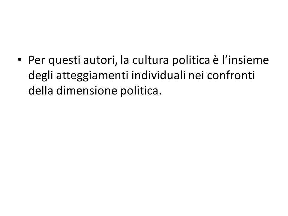 Per questi autori, la cultura politica è l'insieme degli atteggiamenti individuali nei confronti della dimensione politica.