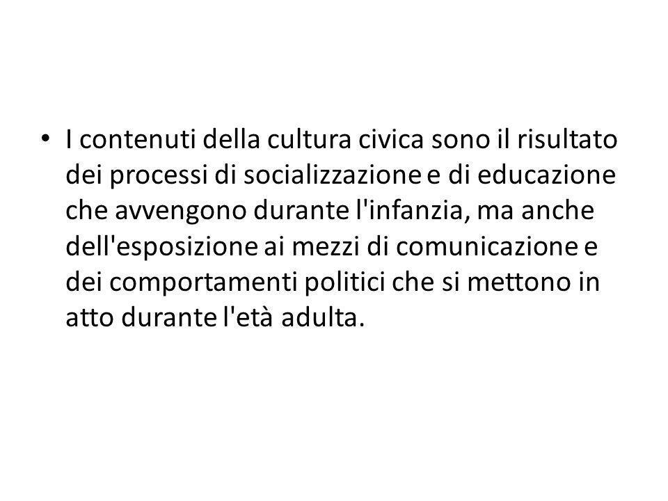 I contenuti della cultura civica sono il risultato dei processi di socializzazione e di educazione che avvengono durante l'infanzia, ma anche dell'esp